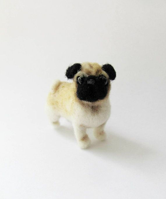 Needle felted pug by HandmadeByNovember on Etsy
