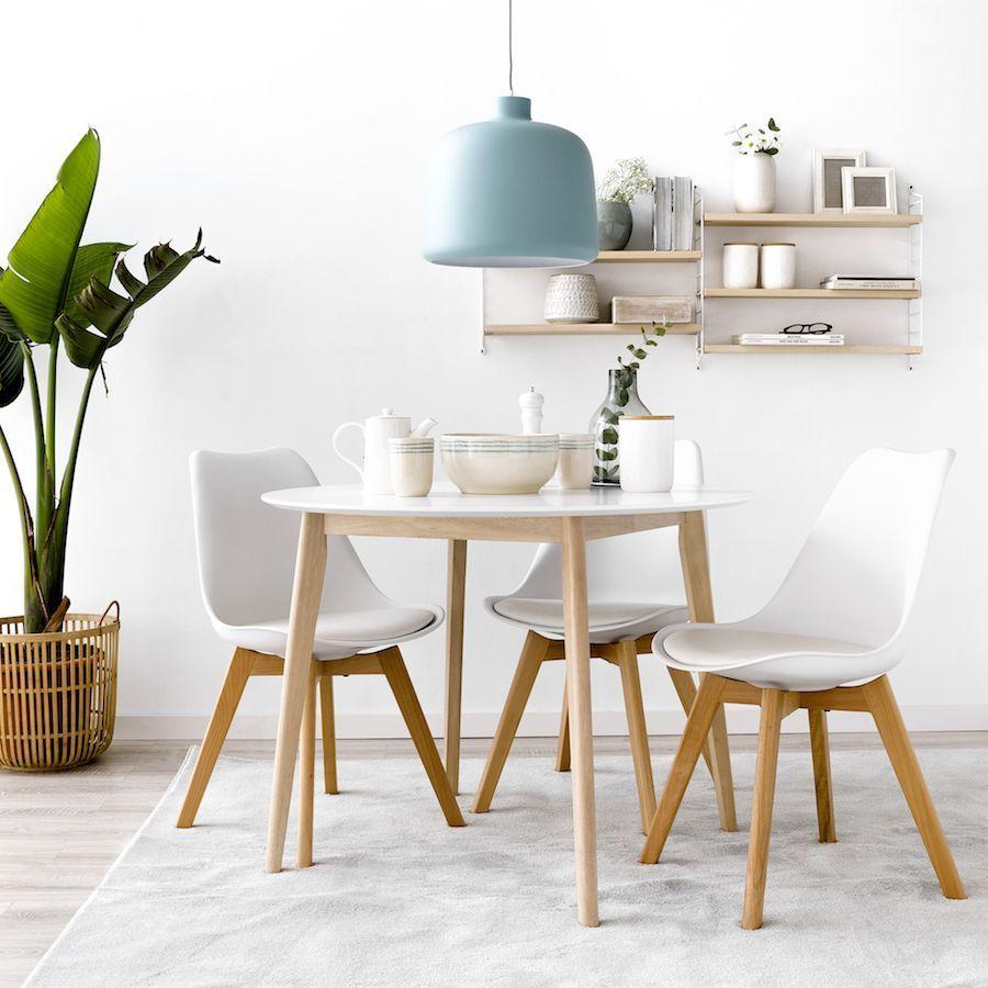 Mesa Redonda Blanca Con Patas De Madera Circular Dining Room Table Kitchen Decor Apartment Dining Room Small