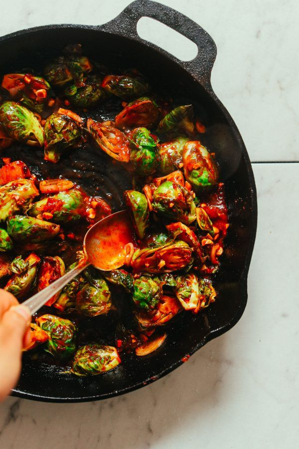 Korean Gochujang Stir Fried Brussels Sprouts