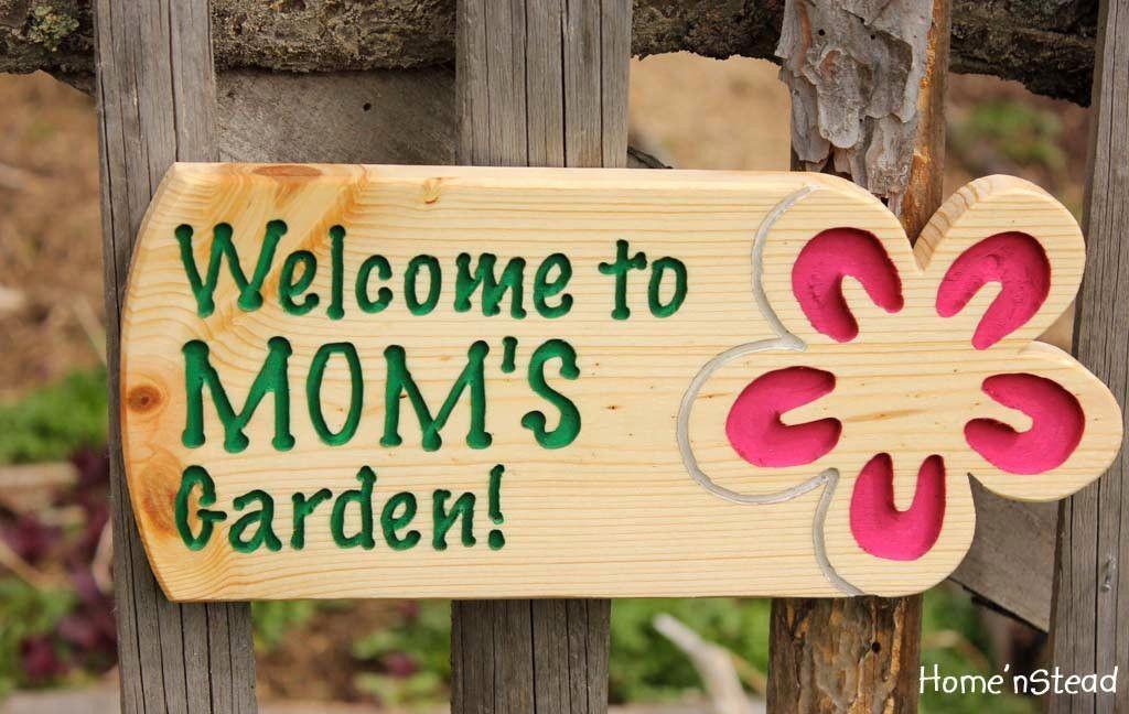 Garden sign custom flower plaque name outdoor gardeners