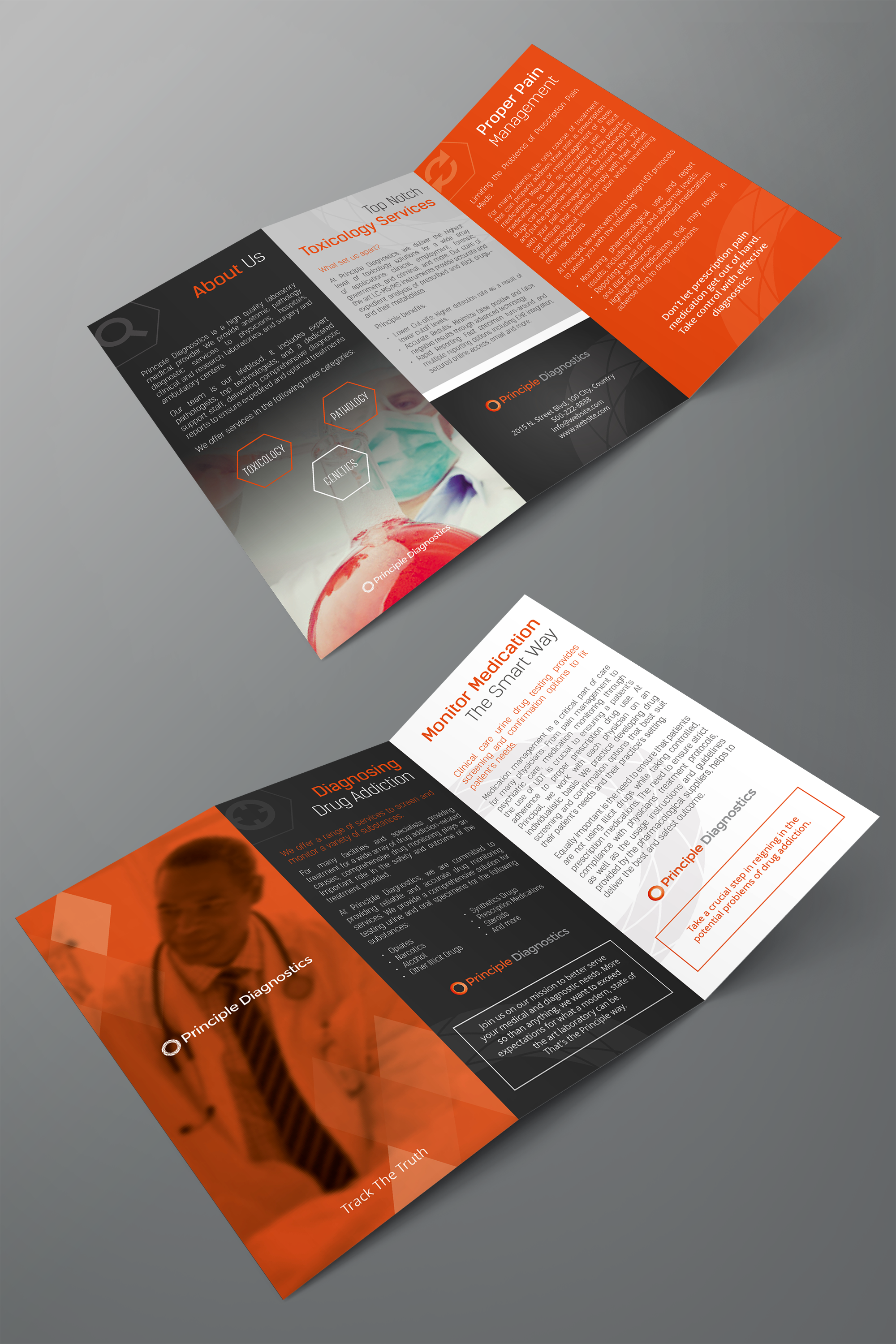z fold brochure in orange as dominant color and deep gray as accent high