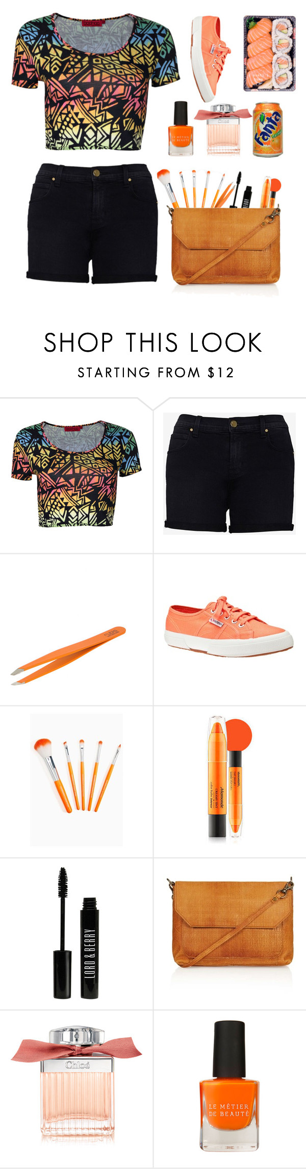 """Orange #99"" by miriloto2 ❤ liked on Polyvore featuring beauty, Boohoo, J Brand, Rubis, Superga, Mamonde, Lord & Berry, Topshop, Chloé and Le Métier de Beauté"