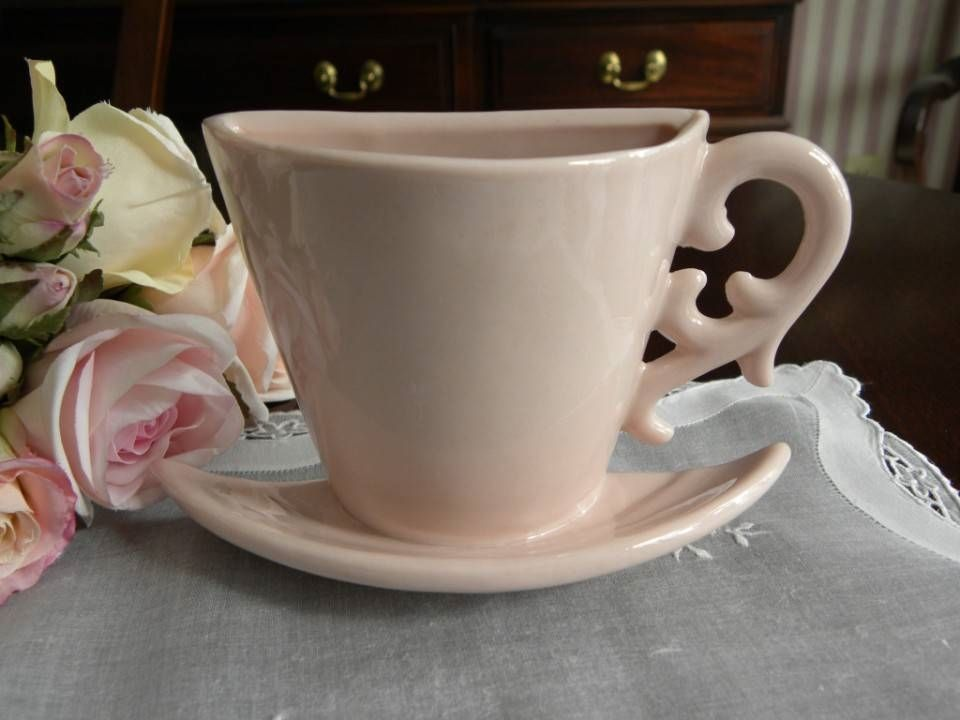 Pink Teacup And Saucer Wall Pocket Vase Anyone For Tea Cafe Hot