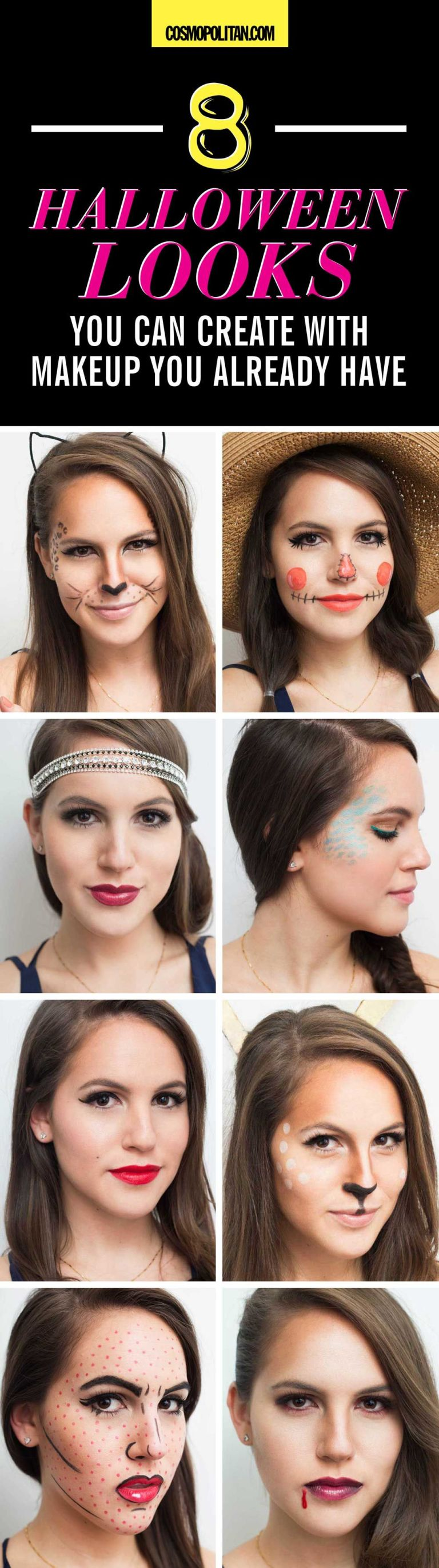 8 easy halloween makeup ideas halloween makeup tutorials with makeup you already have