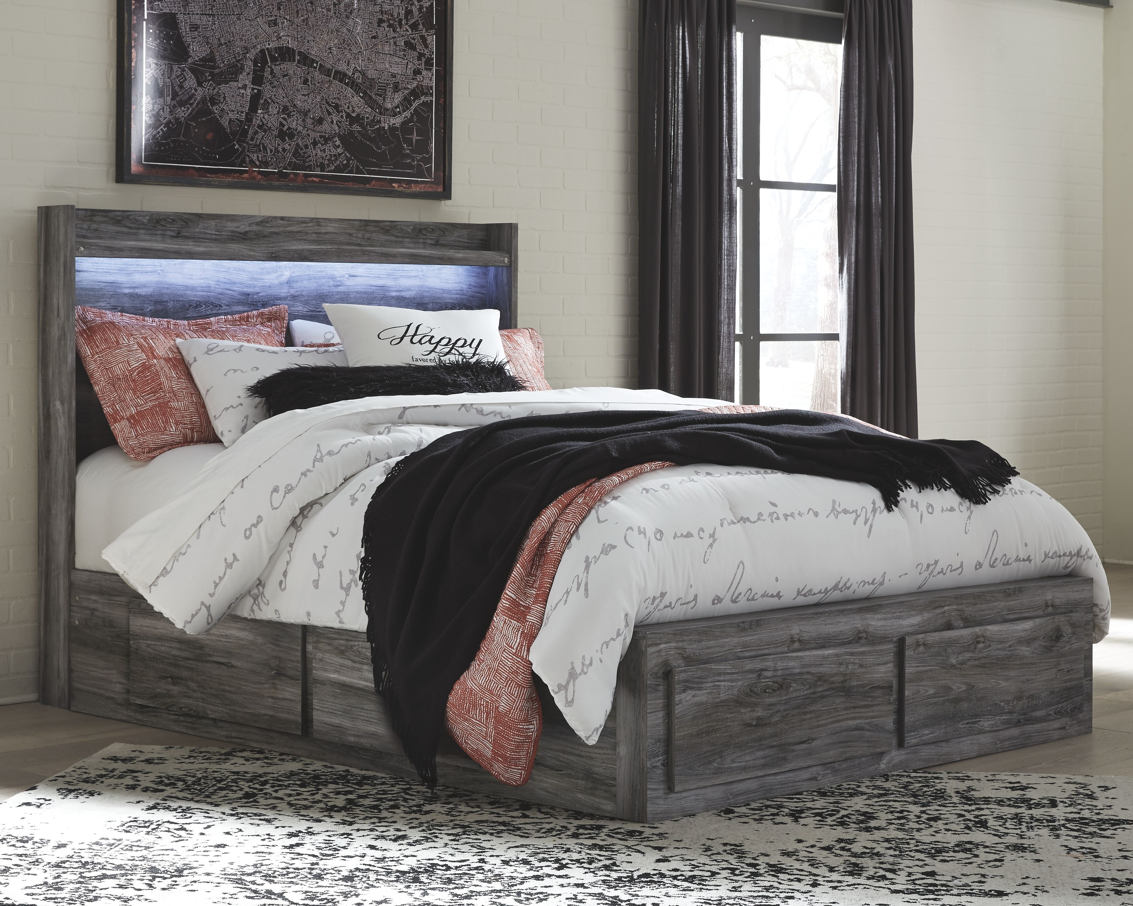 Baystorm Queen Panel Bed with 4 Storage Drawers King