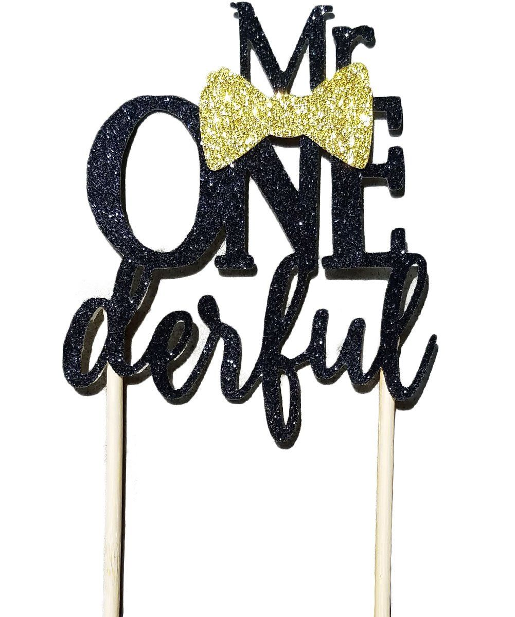 Mr onederful cake topper black and gold baby boy with