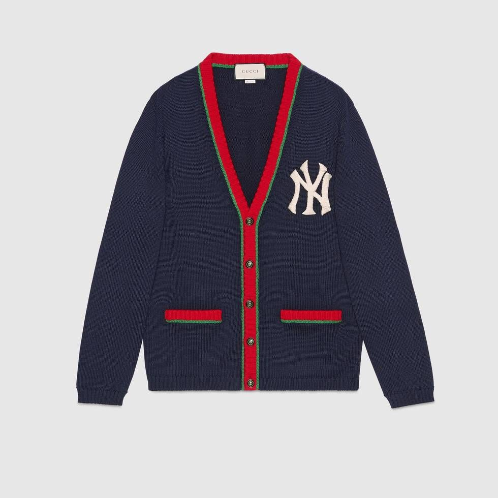 Shop The Cardigan With Ny Yankees Patch By Gucci A Cardigan Framed With The Web From The Runway Gets A Modern Twist Wit Mens Cardigan Cardigan Men Cardigan [ 980 x 980 Pixel ]