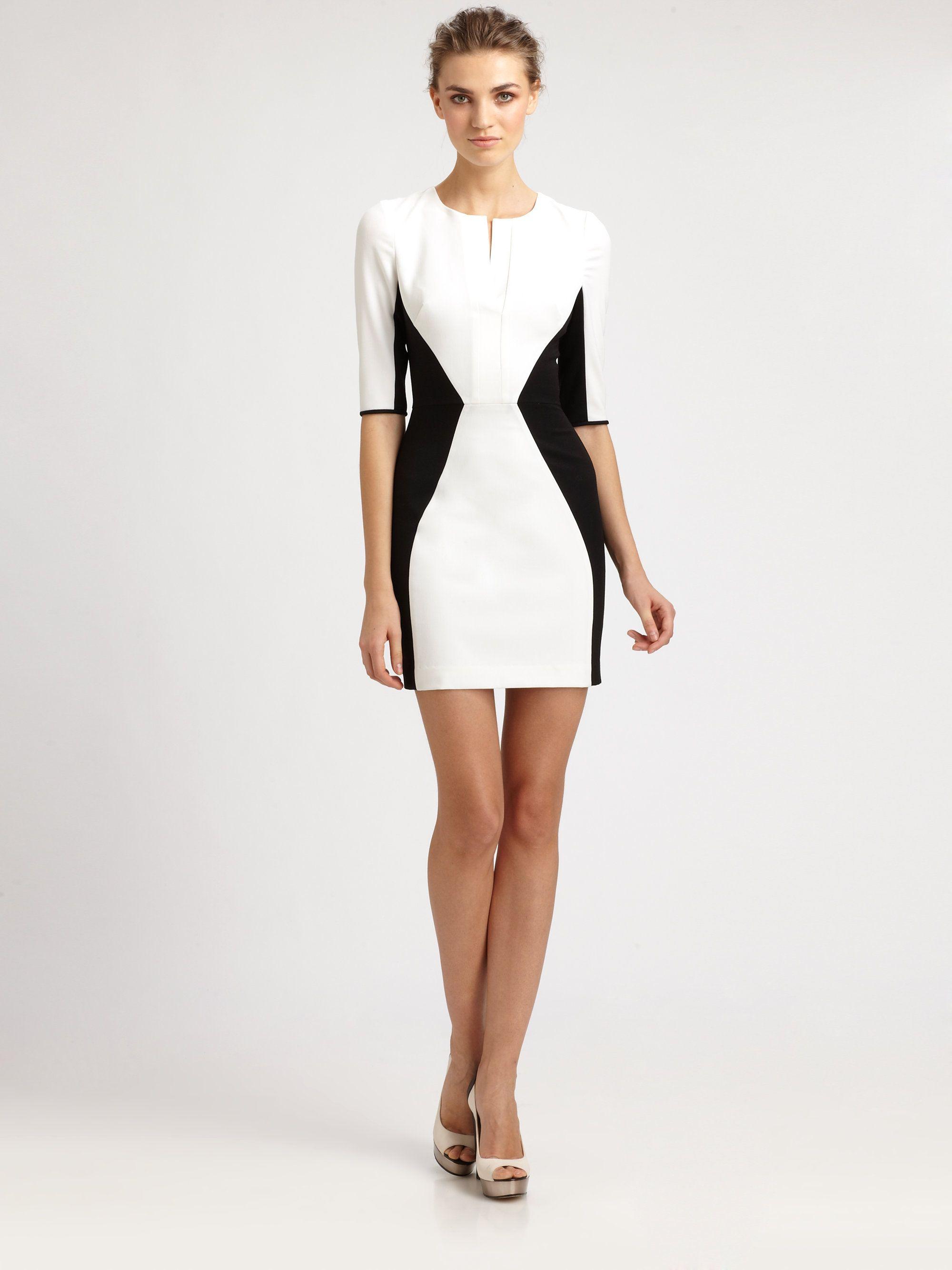 Black white colorblock dress