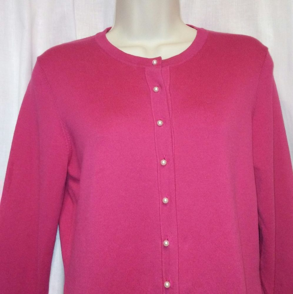 Ann Taylor Womens Hot Pink Pearl Button Front Cardigan Sweater ...