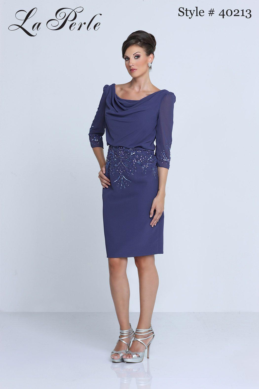 La Perle style # 40213 ~ blue chiffon knee length dress with cowl ...