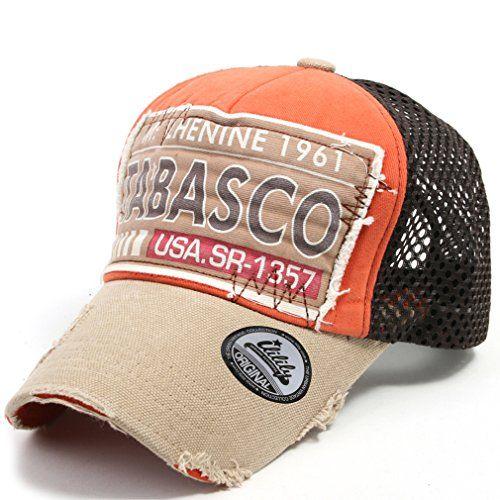 ililily Tabasco Distressed Vintage Mesh Baseball Cap Snapback Trucker Hut  (ballcap-435-3 98abc4e5c32f