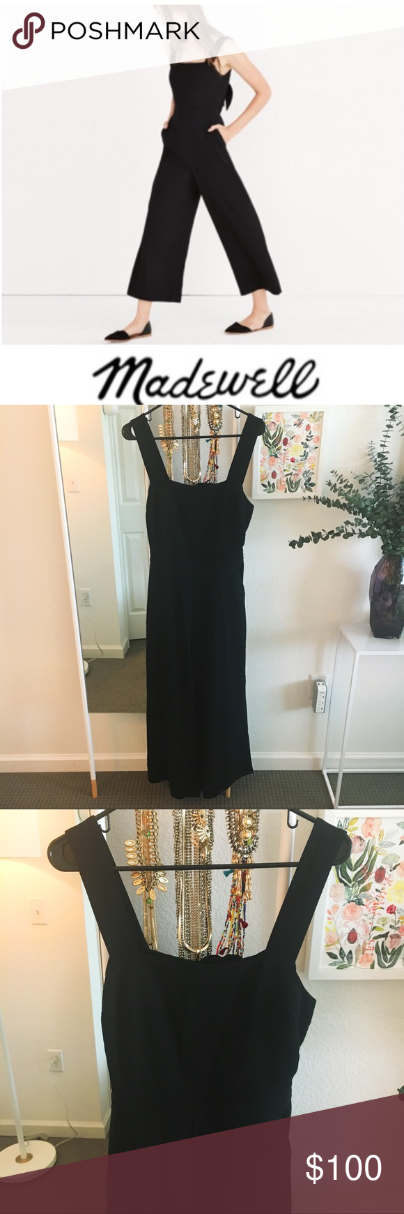 0df6b6295826 Madewell Apron Bow-back Jumpsuit Amazing bow-back black jumpsuit - only  worn once! Pair with black flats and grab your favorite denim jacket for an  adorable ...