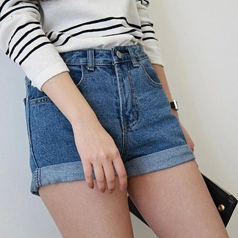 Denim High Waisted Shorts for under $10