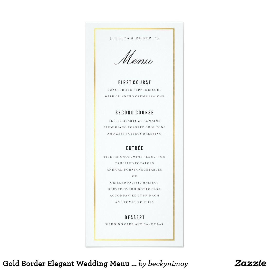 Gold Border Elegant Wedding Menu Card | Wedding menu cards, Wedding ...