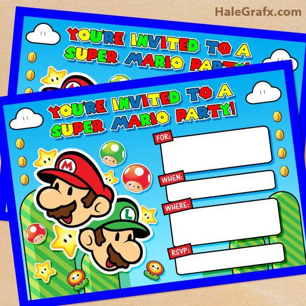 FREE Printable Super Mario Bros Birthday Party Invitation – Mario Kart Party Invitations
