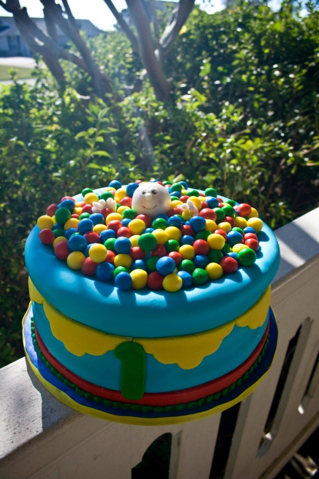 Outstanding Ball Pit First Birthday Cake With Images Boys First Funny Birthday Cards Online Inifodamsfinfo