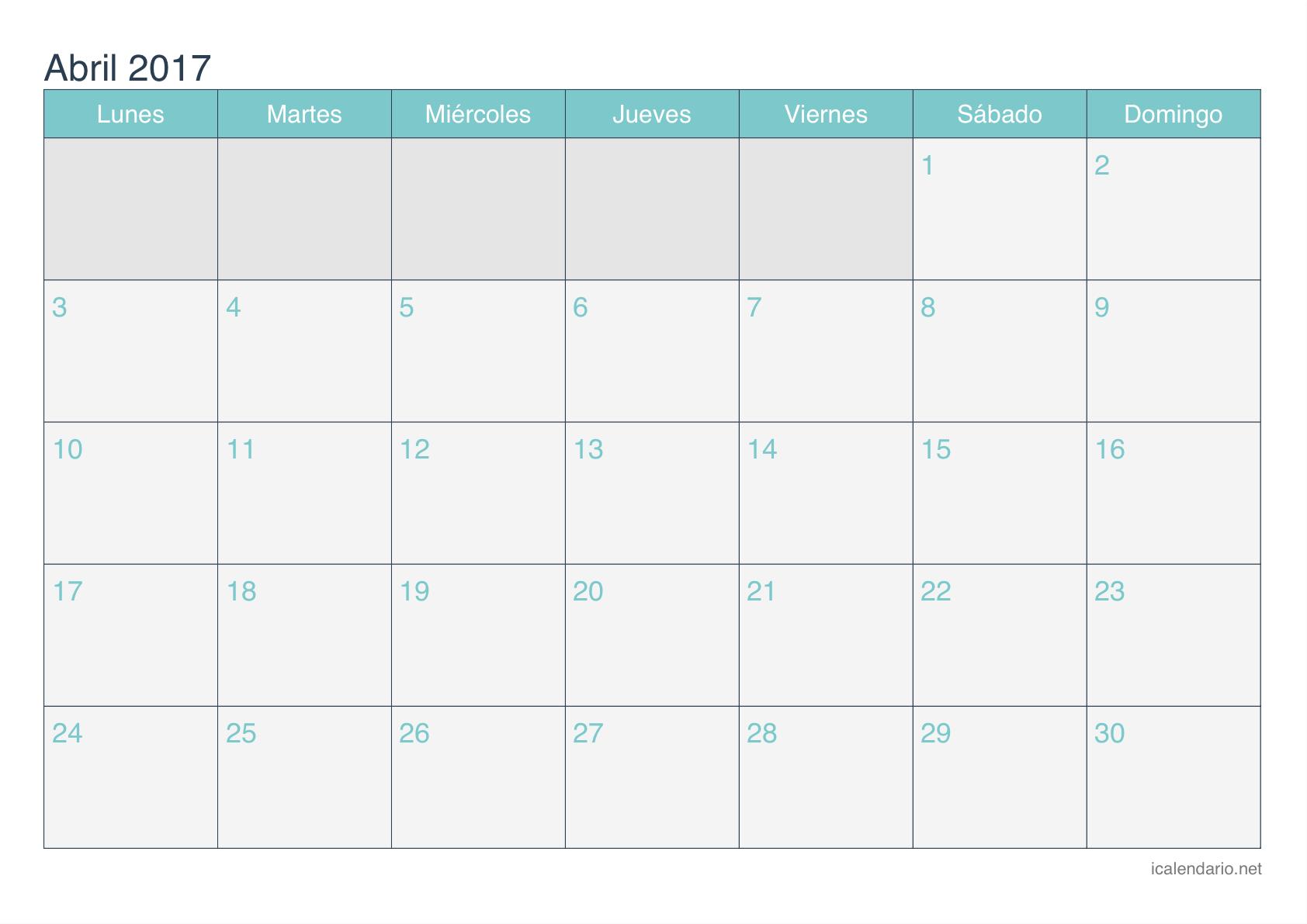 Calendario Para Escribir.Resultado De Imagen Para Calendario 2017 Con Espacio Para Escribir