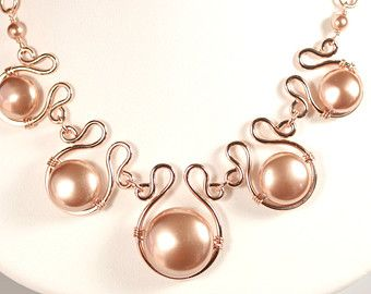 Rose Gold Pearl Bracelet Wire Wrapped Jewelry Handmade Rose Gold