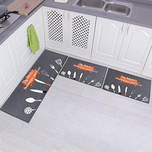Fanti 3 Piece Non Slip Kitchen Mat Rubber Backing Doormat Runner Rug Set Kitchenware Design Grey 15