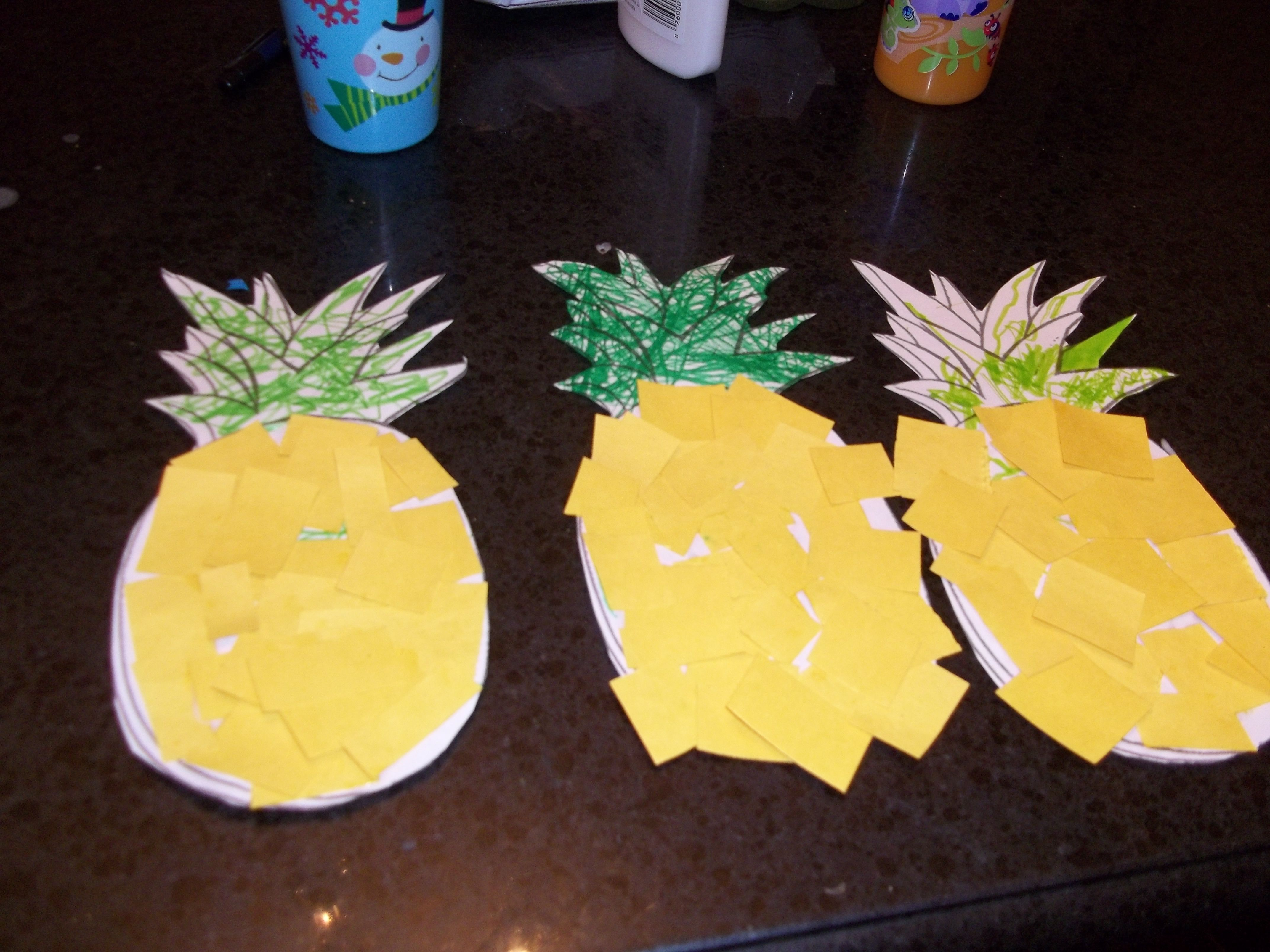 Pinapple Shape Color Or Finger Paint Leaves Green And