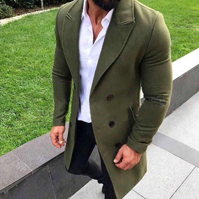 pipigo Mens Outerwear Slim Lapel Collar Double Breasted Thicken Winter Peacoats Dark Gray M