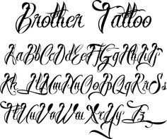 Brother Tattoo Lettering Style Alphabet