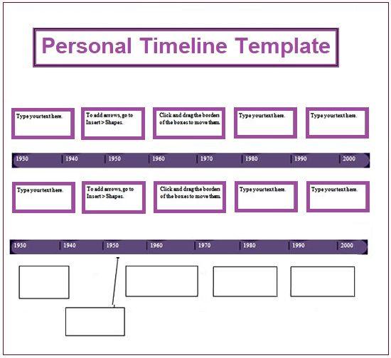 Personal Timeline Template 4+ Free Printable PDF, Excel  Word