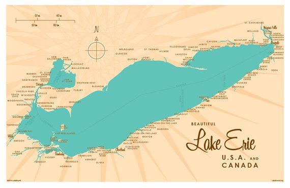 Lake Erie Us Map.Lake Erie Map Art Print In 2019 Products Pinterest Map Lake