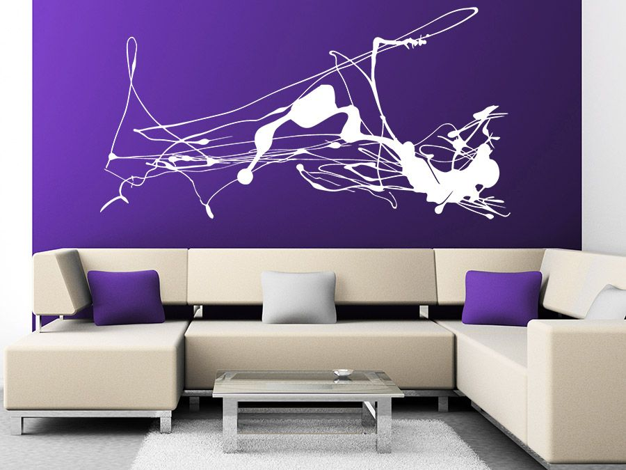 purple and white abstract wall art for living room with cream sofa - kunst fürs wohnzimmer