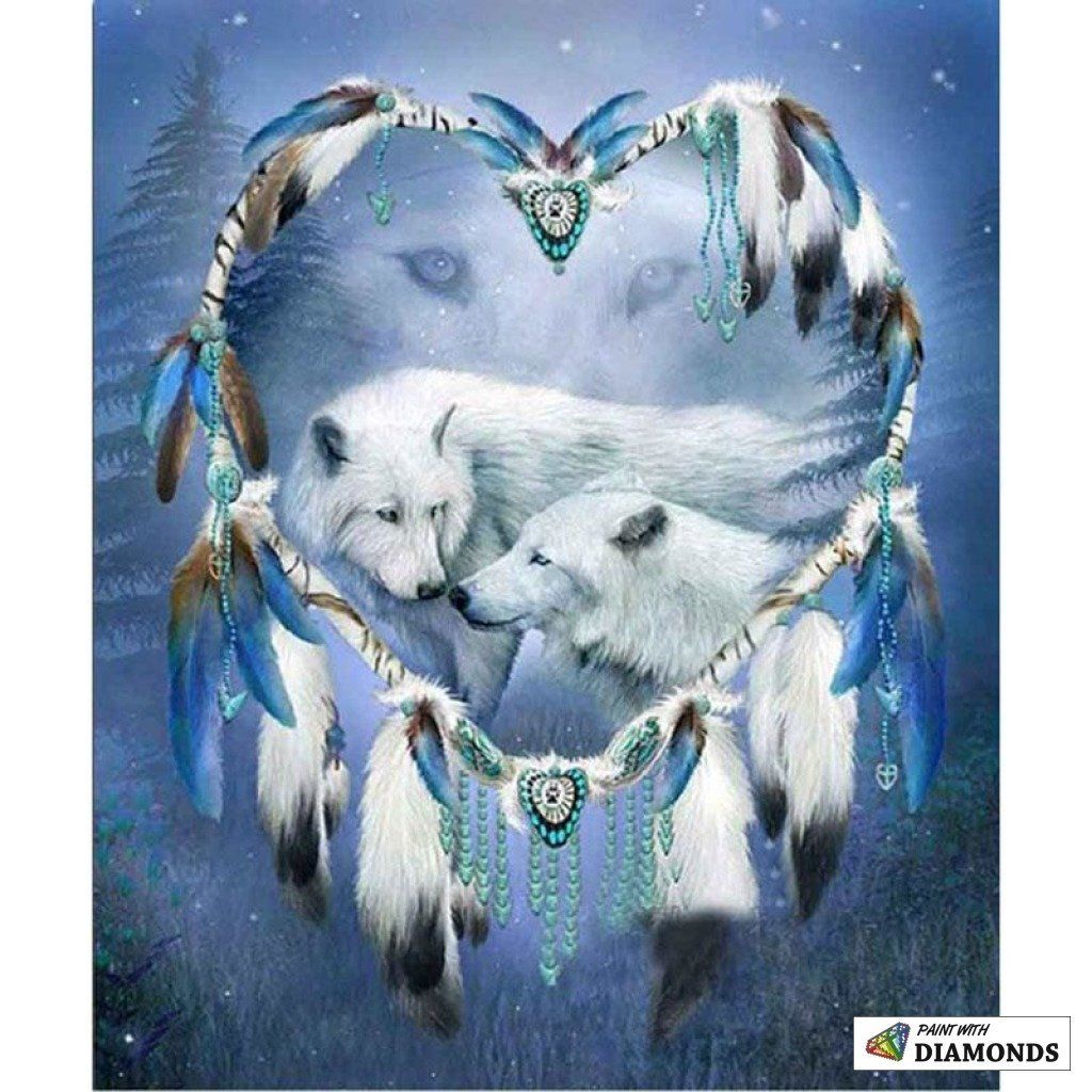 WOLF IN SNOW DREAM CATHER with feathers 18 IN dreamcather wild animal new WOLVES