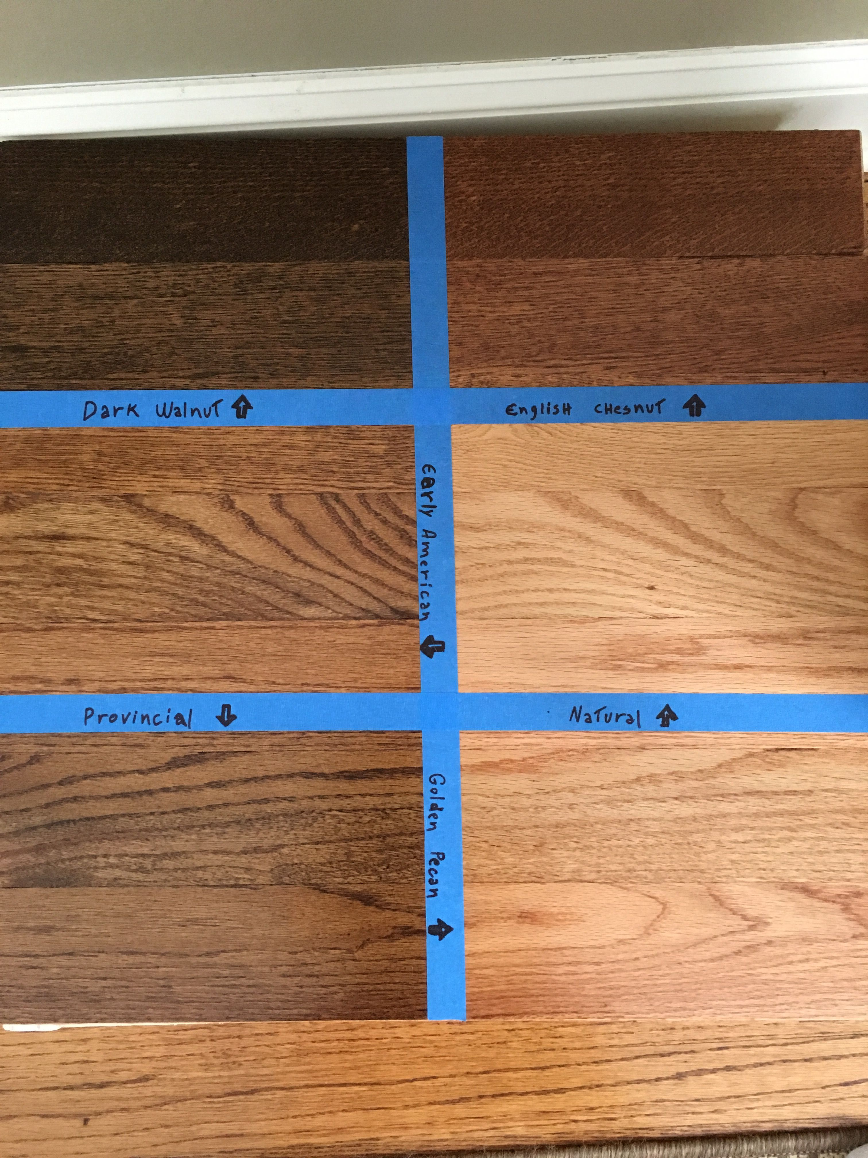 Floor Stain Samples Minwax Dark Walnut English Chestnut Natural Golden Pecan