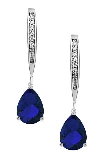 Sterling Silver Simulated Diamond Pear Shape Earrings by CZ Collections on @HauteLook