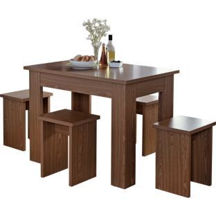 Buy Legia Walnut Space Saving Dining Table and 4 Stools at Argos