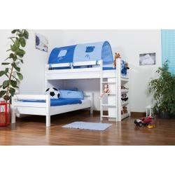Photo of Kinderbett Etagenbett Moritz L Buche Vollholz massiv weiß lackiert mit Regal, inkl. Rollrost – 90 x