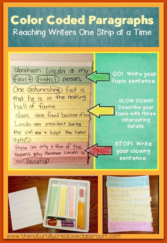 Example of color coding paragraphs to teach students the parts of a - new 7 how to write a statement for work
