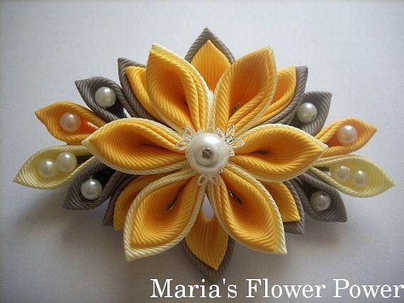 Handmade Kanzashi fabric flower grosgrain by MARIASFLOWERPOWER, £6.76