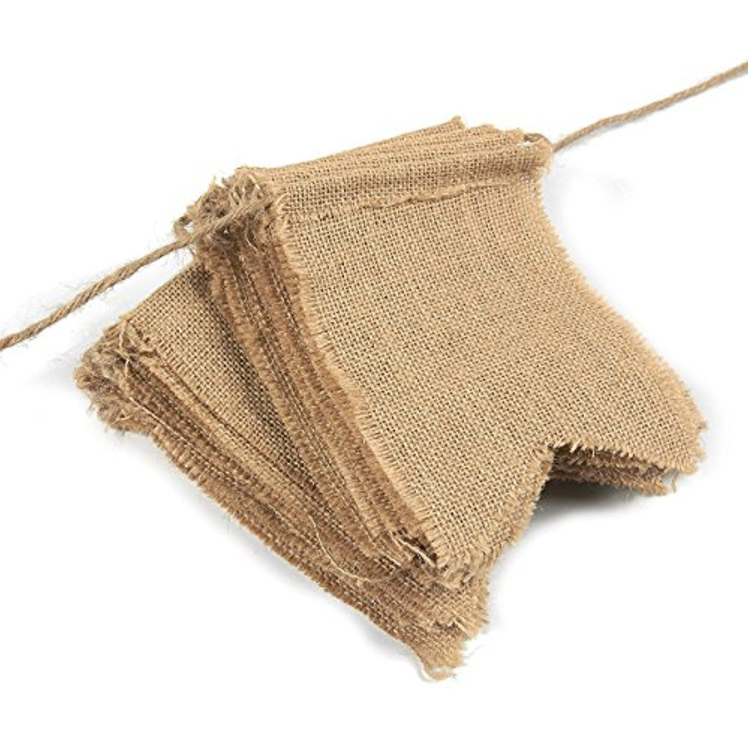 Burlap banner flags flag pennant banner kit rustic bridal shower