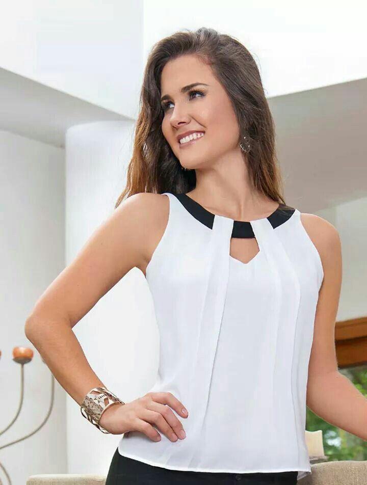 Blusa blanca con negro   BLUSAS   Blusa chifon, Moda y Vestidos