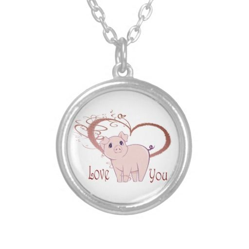 Love You, Cute Pig and Swirl Heart Pendants