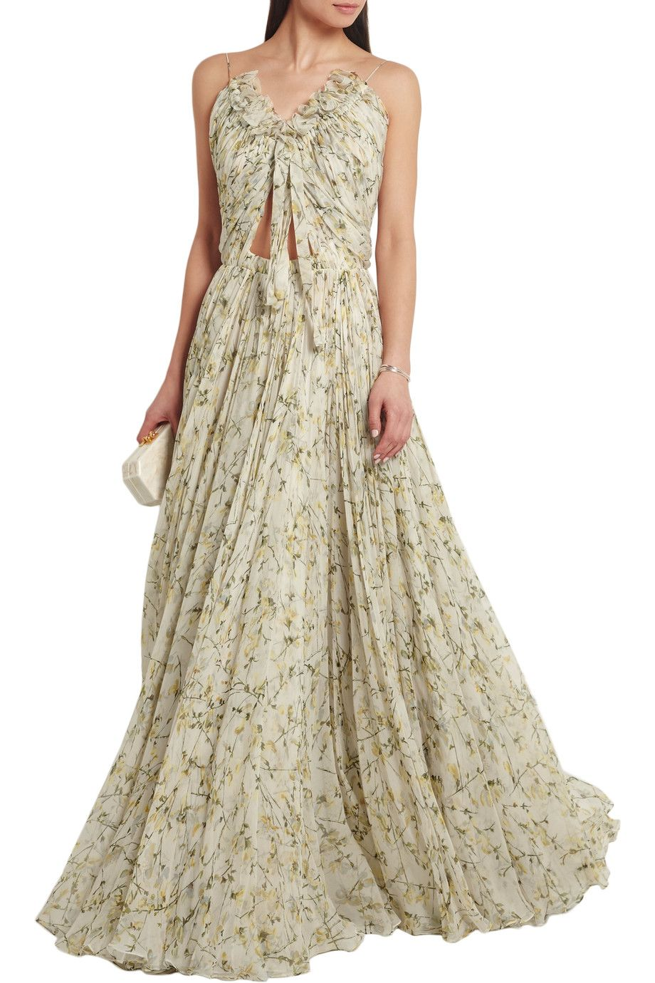 Designer occasion wear for less chiffon gown printed silk and