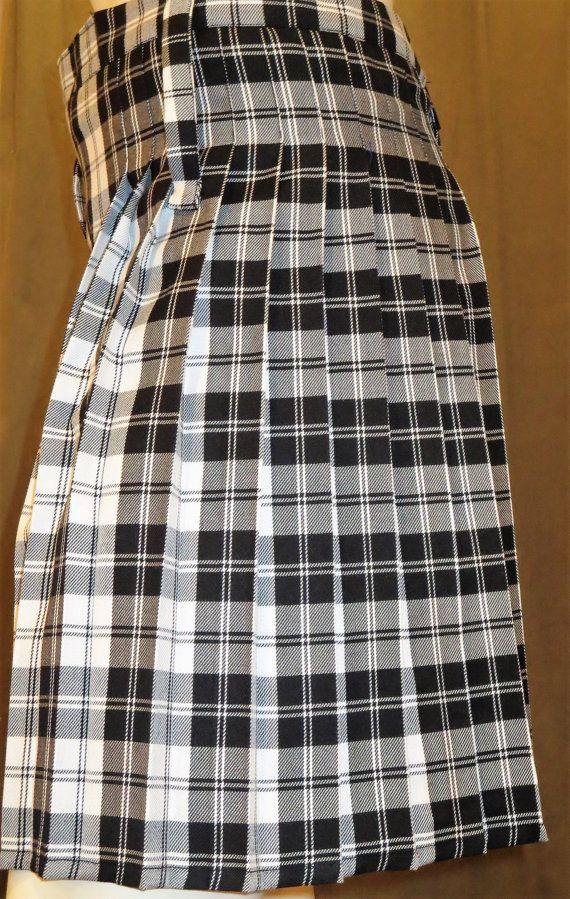 9ecdb6cafa8bd1 Black white plaid ladies Kilt Tartan Plaid Ladies kilt in Menzies black  Tartan plaid~Concert highland Games Parade Wedding Kilt@sohoskirts