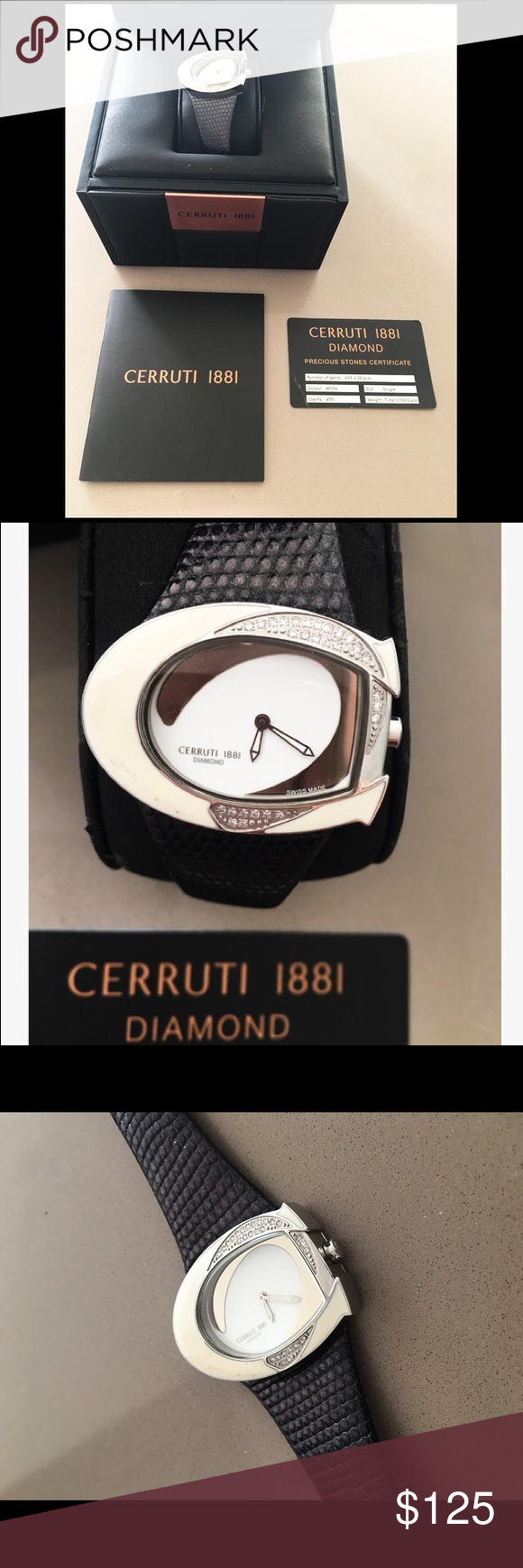 997bec91b6 Cerruti 1881 Diamond Watch Number of gems: VS1x28pcs - Cut: Single -  Clarity: VS1 - Weight: Total 0.168 Carat - Real black leather - Comes with  original box ...