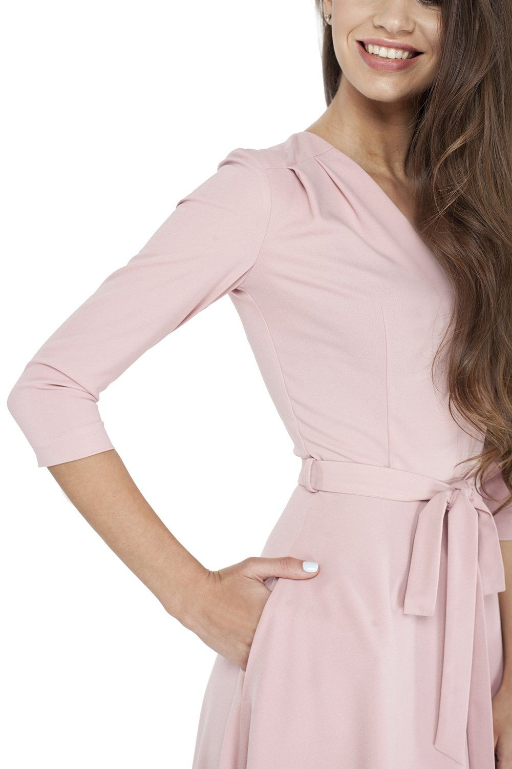 cffa73bf41c VILONNA Womens Elegant 3 4 Sleeve V Neck Belted Semi Formal Midi Dress with  Pockets Blush Pink Large     Take a look at this great product.