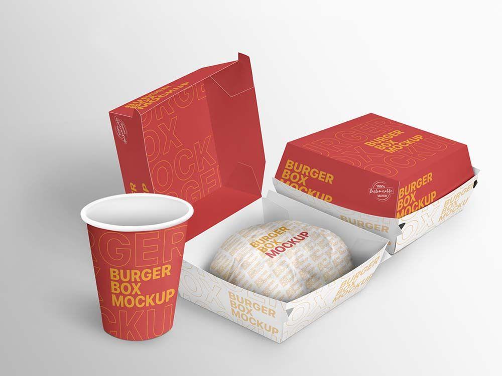 Download Burger Box Mockup Psd Free Download In 2020 Burger Box Box Mockup Branding Mockups