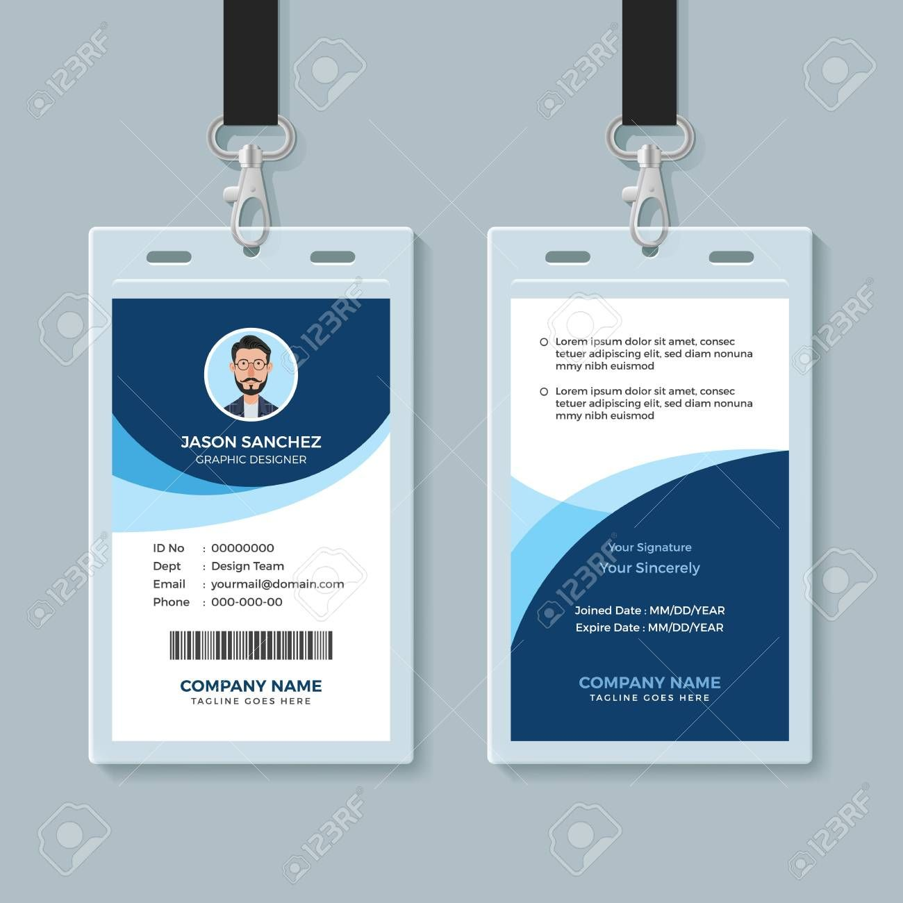 Simple And Clean Employee Id Card Design Template Affiliate Employee Clean Simple Id Template Employee Id Card Employees Card Identity Card Design