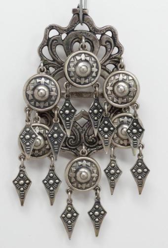 Vintage or Antique large Swedish  Norwegian folk costume brooch Bronze Brass Filigree decor Solar symbol Scandinavian jewelry Nordic style
