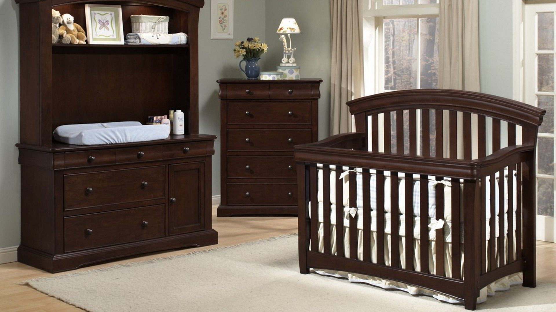 Stylish Dark Wooden Baby Furniture For Dresser Cabinet And Crib With White Lamps