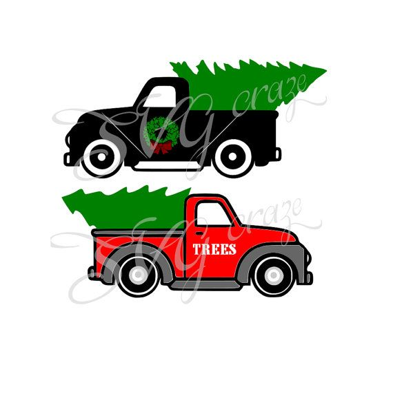 Red Retro Vintage Antique Classic Christmas Tree Delivery Truck