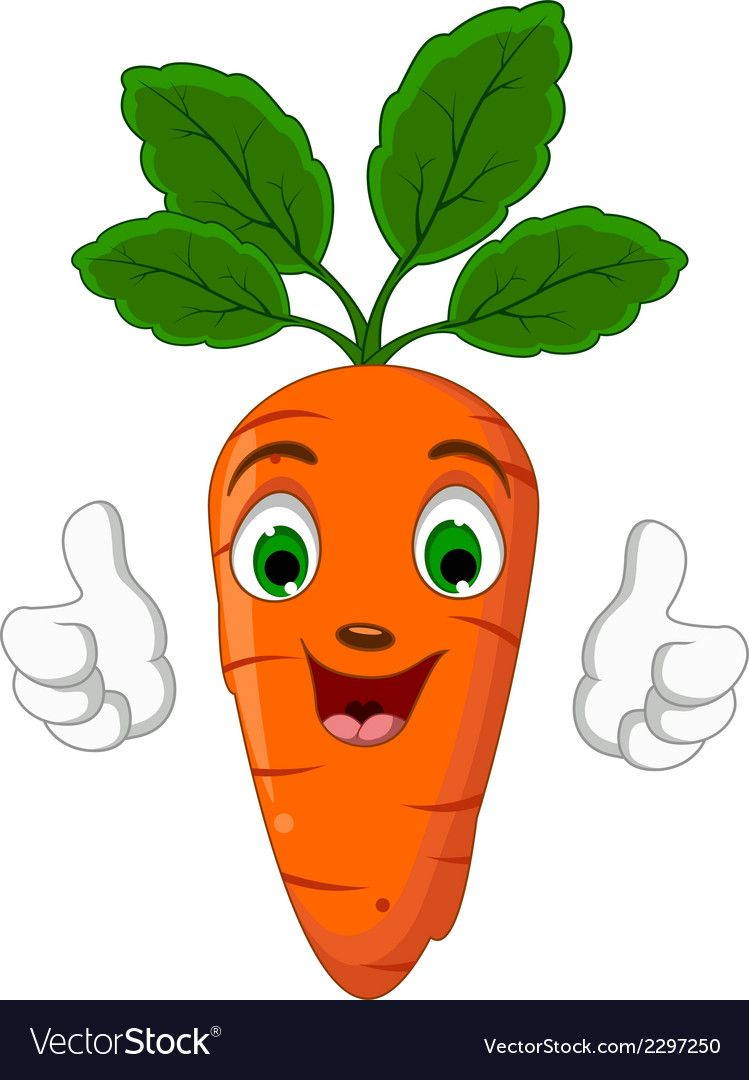 Cartoon Carrot Character Giving Thumbs Up Vector Image On
