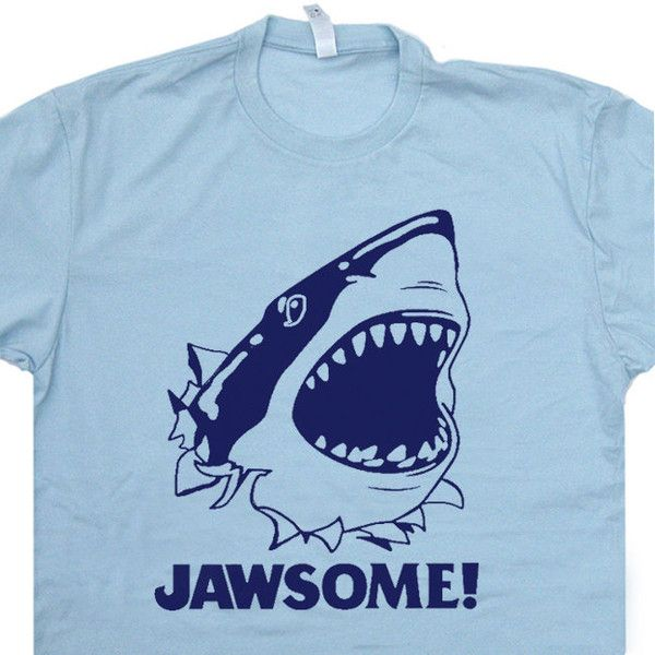 Jawsome Jaws T SHIRT funny vintage soft Jawesome Shirts Shark retro... ($13) ❤ liked on Polyvore featuring tops, t-shirts, t shirt, 80s tees, print t shirts, light blue shirt and pattern t shirt